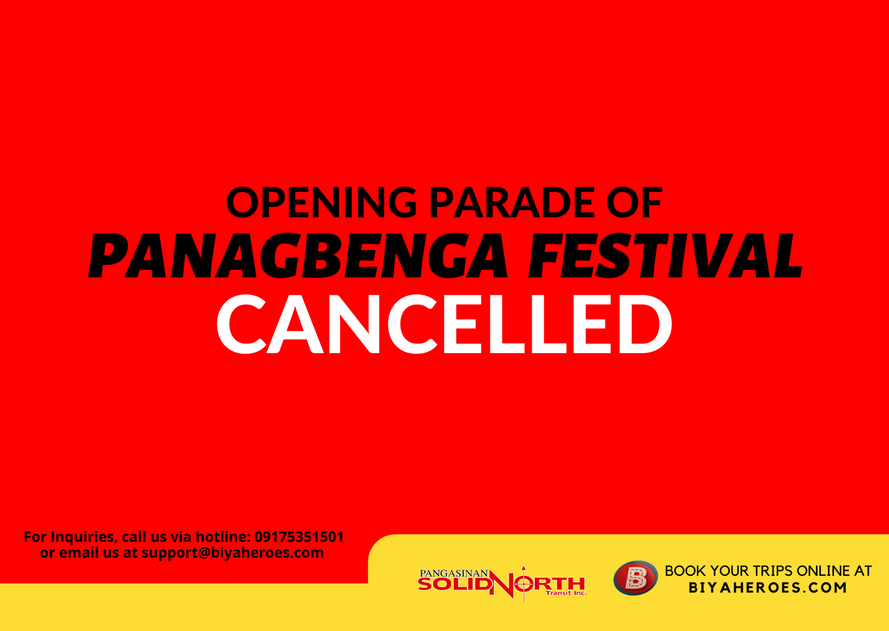 Baguio City cancels Panagbenga festival's opening + other major events